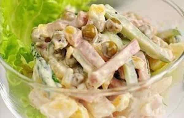 Салат ветчина зеленый горошек фото